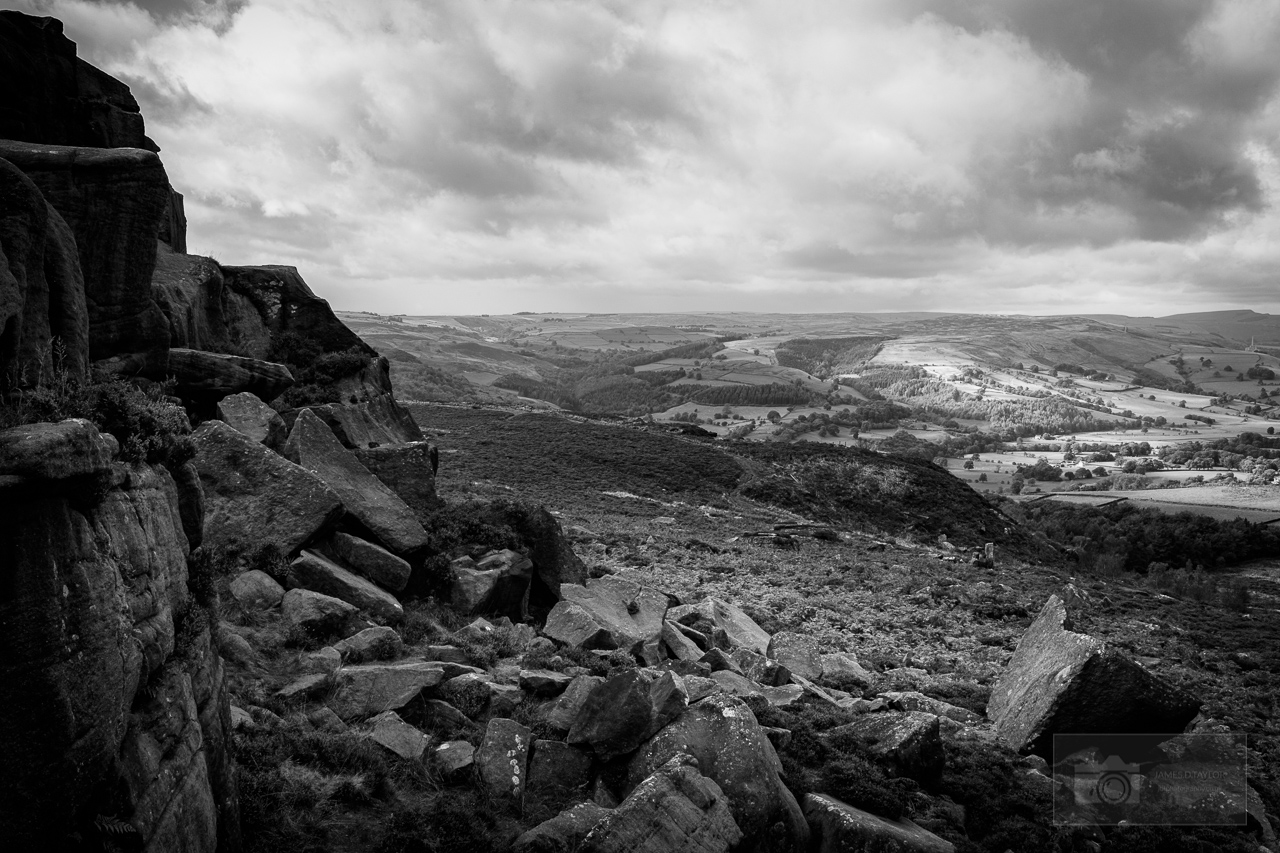 peak district in black and white over owler tor