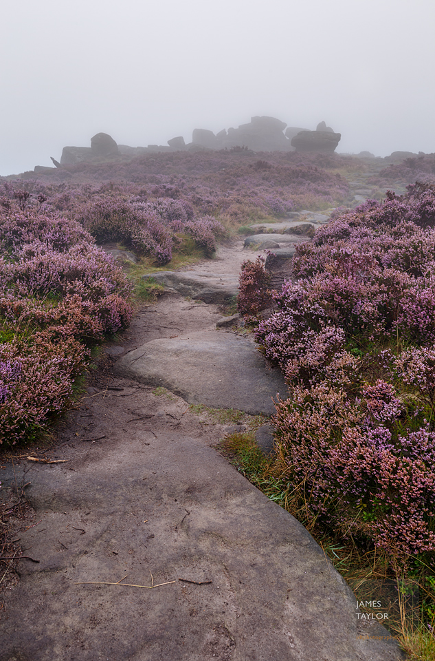 peak district in colour fog footpath over owler