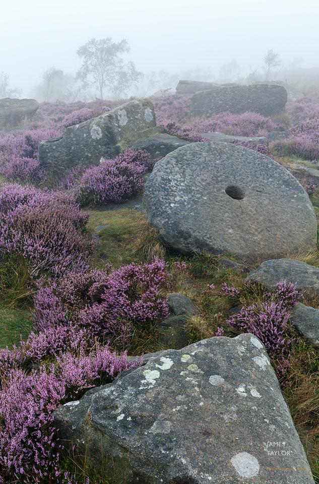peak district in colour fog heather millstone