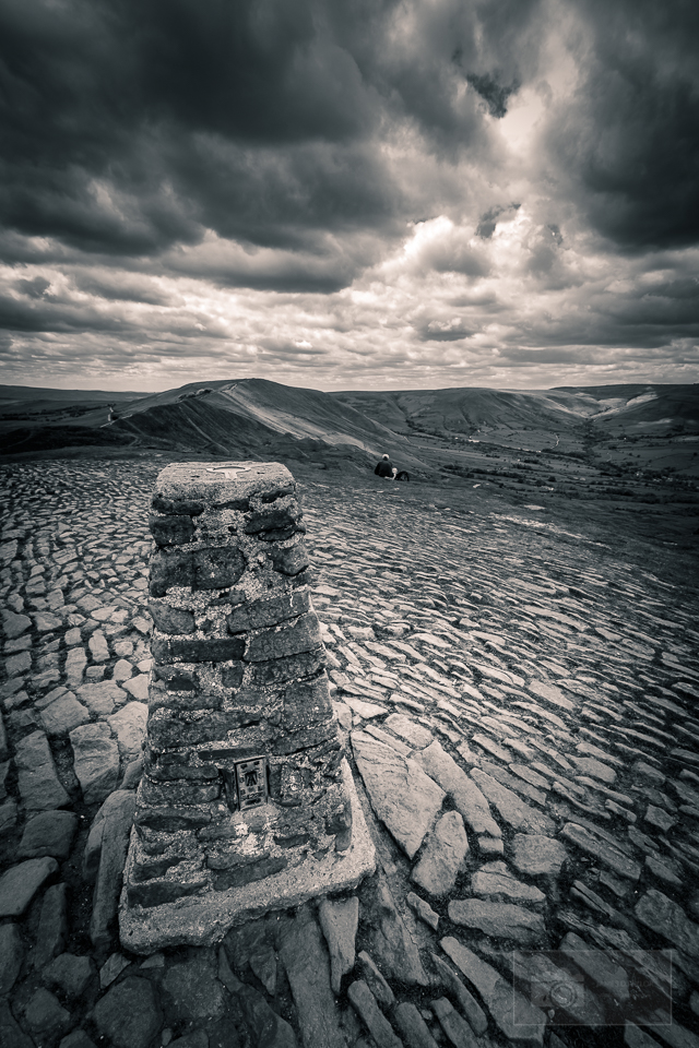 peak district in black and white trig point mam tor